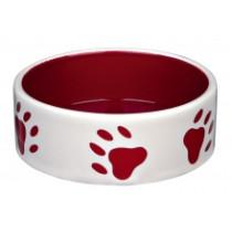 Keramikskål Ø16cm 0,8l rød/cre