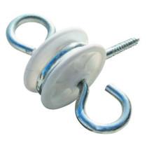 Isolator m/skrue+2 øjer hvid10