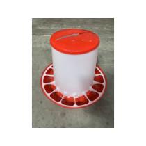 Fodertårn plast rød m/låg 9kg