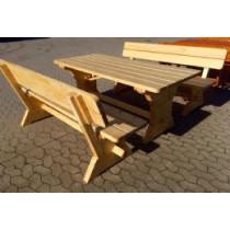 Træbord og 2 bænke L195B86H77