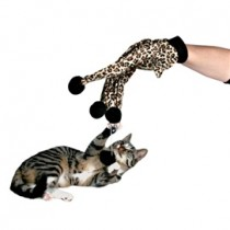 Handske m/4 pomponer/leopard