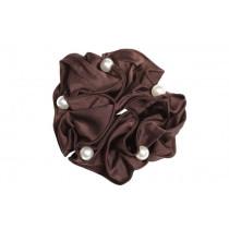 Satin Pearl scrunchie brun