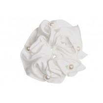 Satin Pearl scrunchie hvid